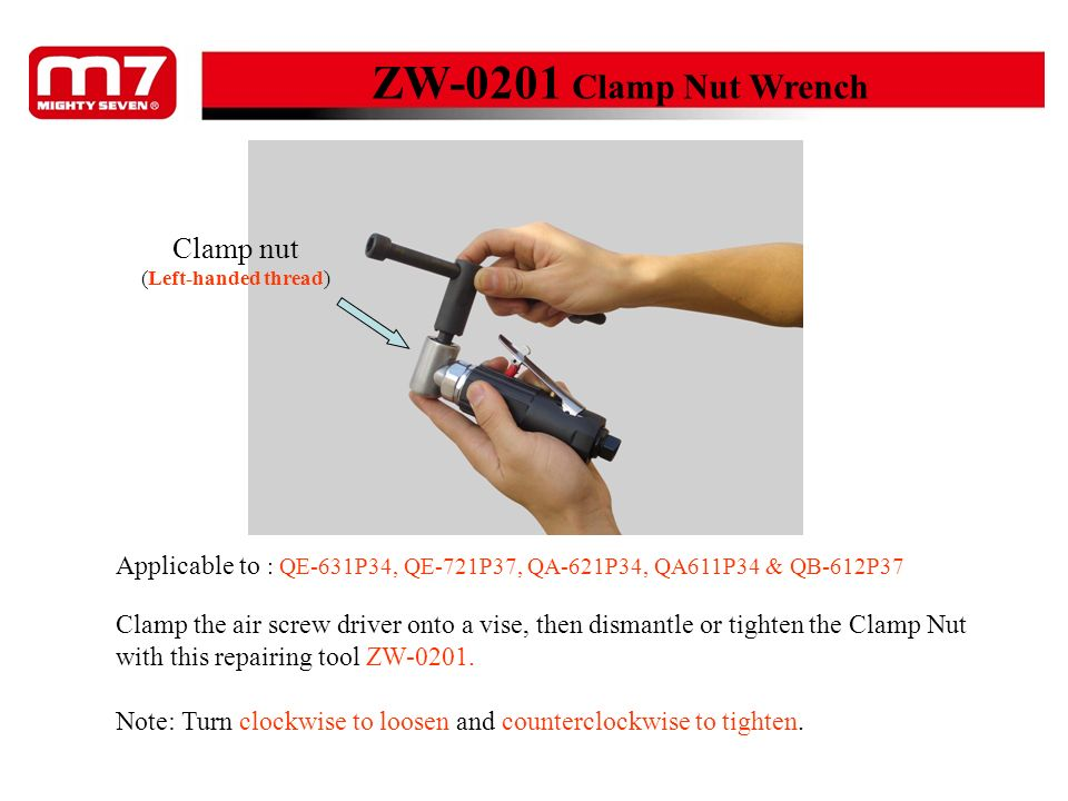 ZW-0316 Combination Wrench for lock ring and bearing Nut (Left handed-thread) Clamp the air angle grinder onto a vise, then dismantle or tighten the Nut with this repairing tool ZW-0316.