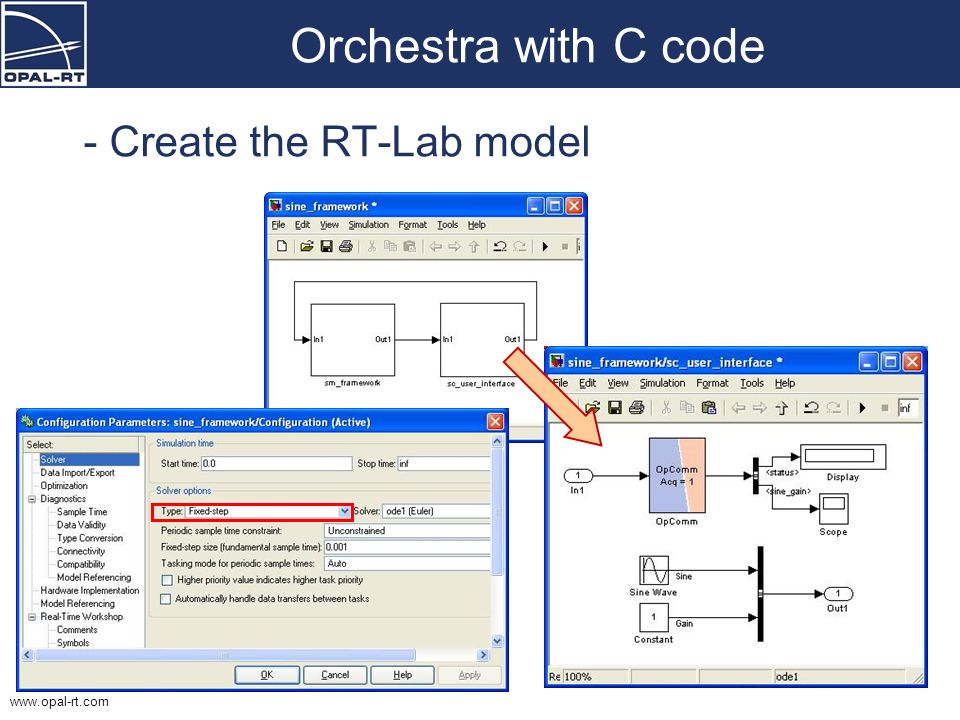 www.opal-rt.com Orchestra with C code - Create the RT-Lab model