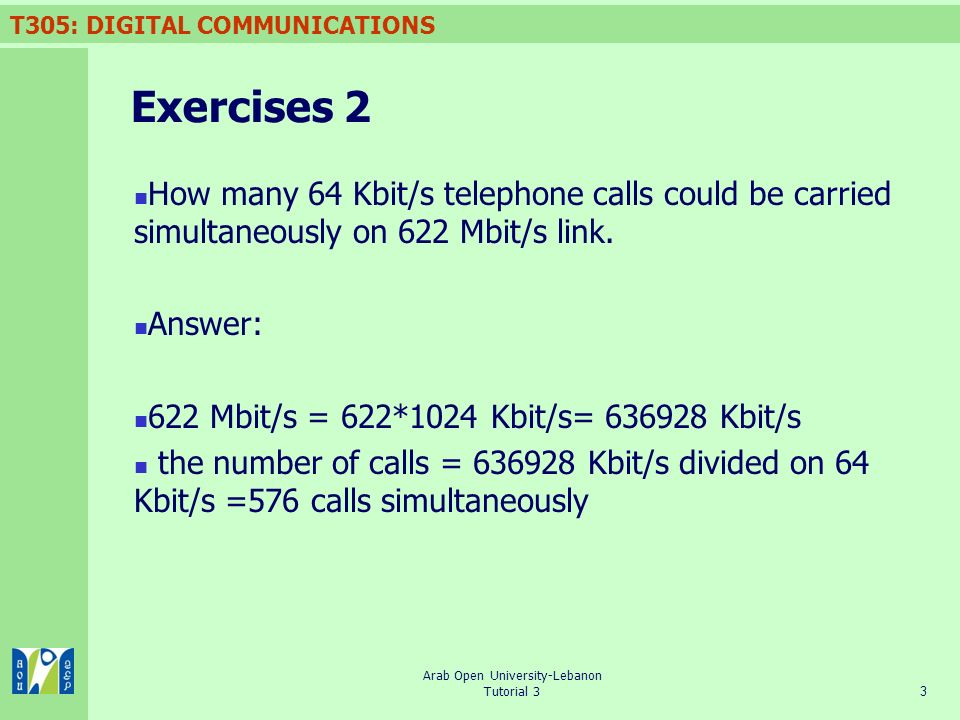 T305: DIGITAL COMMUNICATIONS 3 Arab Open University-Lebanon Tutorial 3 Exercises 2 How many 64 Kbit/s telephone calls could be carried simultaneously on 622 Mbit/s link.