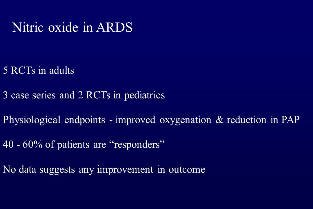 Nitric oxide in ARDS Dellinger RP Crit Care Med 1998; 26:15 Michael JR Am J Respir Crit Care Med 1999; 157:1372 n=177 n=40 n=30 Troncy E Am J Respir C