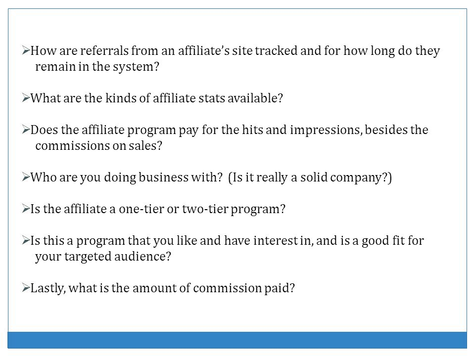 How are referrals from an affiliates site tracked and for how long do they remain in the system? What are the kinds of affiliate stats available? Does