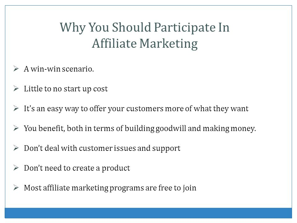 Affiliate Promotion Process Create PayPal account Find product with affiliate program Sign up as an affiliate Mask your affiliate URL Market the product or service Receive your commissions Repeat the process