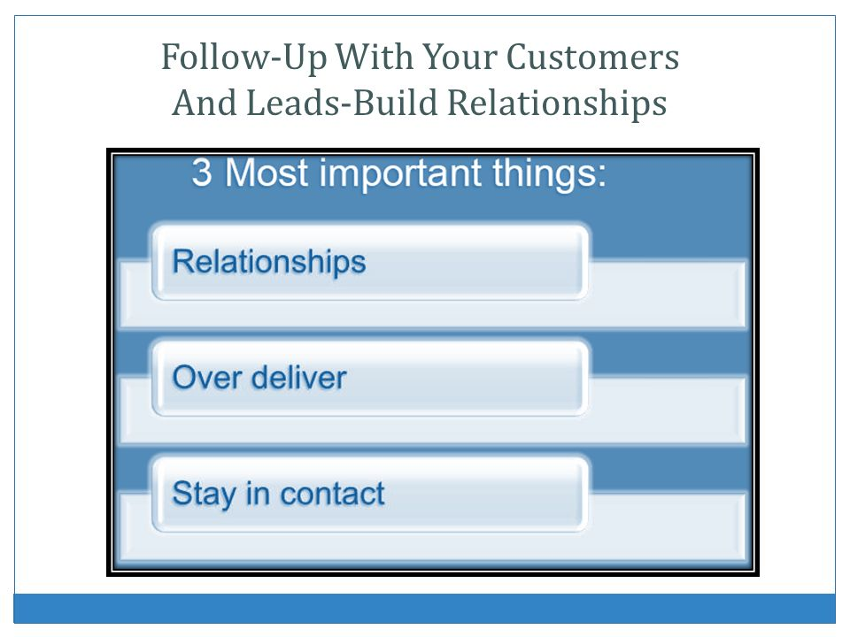 Follow-Up With Your Customers And Leads-Build Relationships