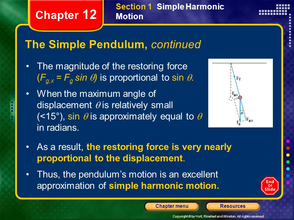 Copyright © by Holt, Rinehart and Winston. All rights reserved. ResourcesChapter menu Chapter 12 The Simple Pendulum, continued The magnitude of the r