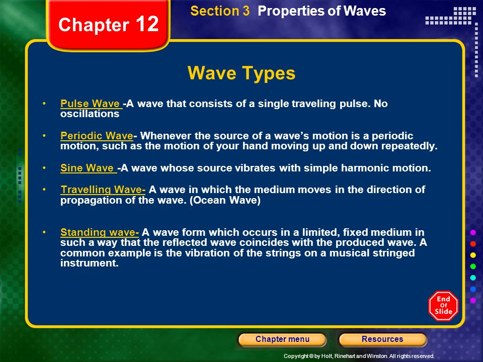 Copyright © by Holt, Rinehart and Winston. All rights reserved. ResourcesChapter menu Chapter 12 Wave Types Pulse Wave -A wave that consists of a sing