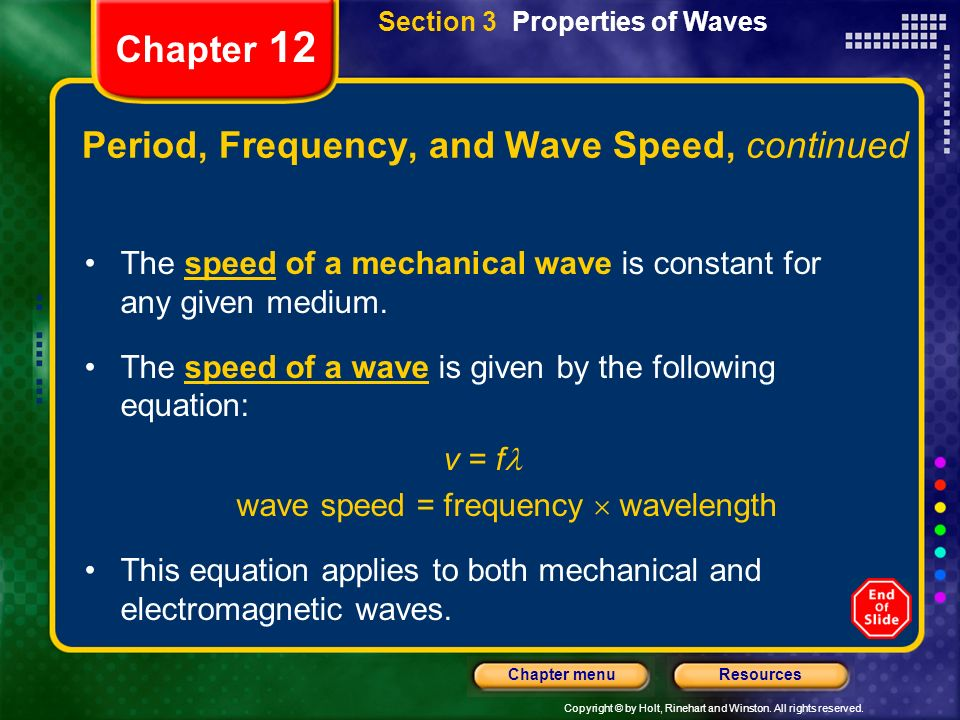 Copyright © by Holt, Rinehart and Winston. All rights reserved. ResourcesChapter menu Chapter 12 Period, Frequency, and Wave Speed, continued The spee