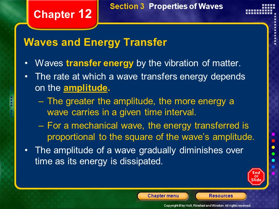 Copyright © by Holt, Rinehart and Winston. All rights reserved. ResourcesChapter menu Chapter 12 Waves and Energy Transfer Waves transfer energy by th