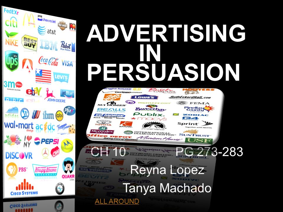 ADVERTISING IN PERSUASION CH 10PG 273-283 Reyna Lopez Tanya Machado ht ALL AROUND