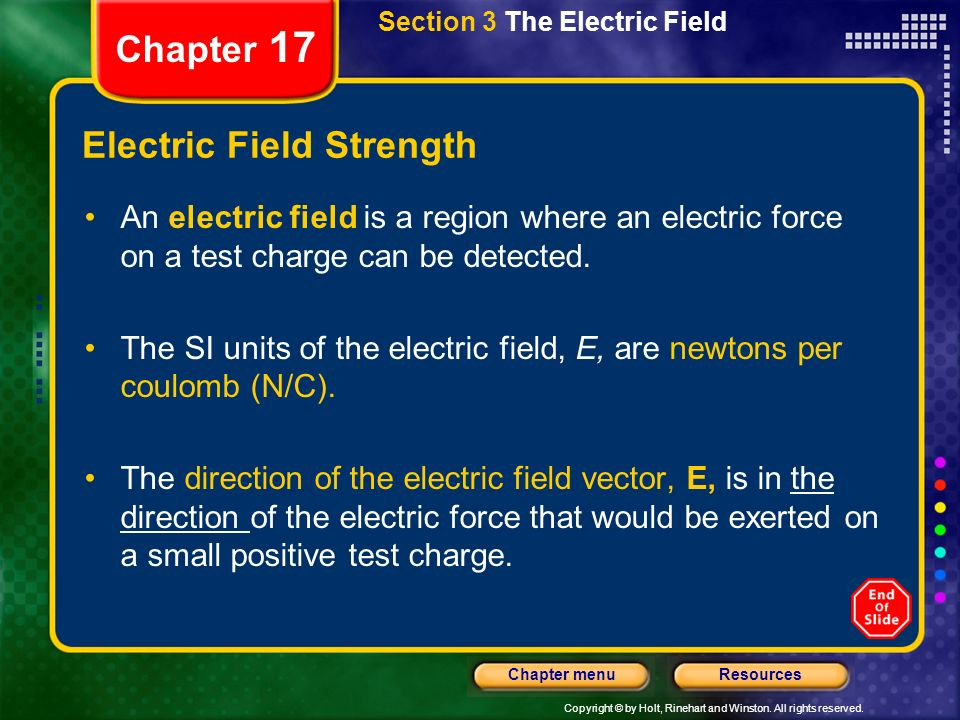 Copyright © by Holt, Rinehart and Winston. All rights reserved. ResourcesChapter menu Chapter 17 Section 3 The Electric Field Electric Field Strength