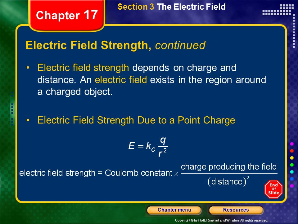 Copyright © by Holt, Rinehart and Winston. All rights reserved. ResourcesChapter menu Chapter 17 Section 3 The Electric Field Electric Field Strength,