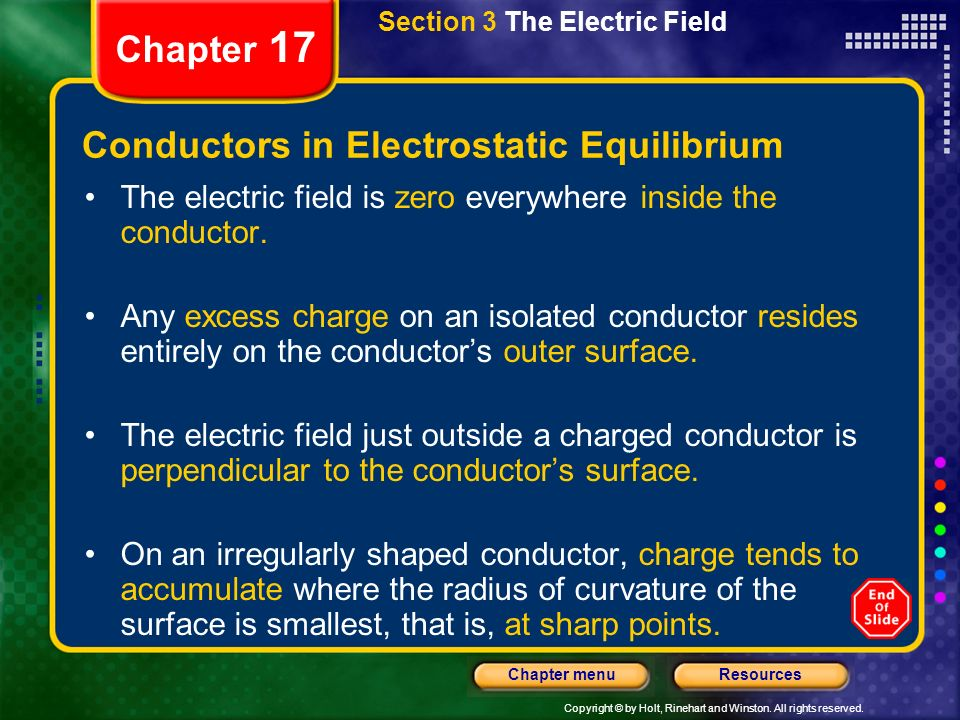 Copyright © by Holt, Rinehart and Winston. All rights reserved. ResourcesChapter menu Chapter 17 Section 3 The Electric Field Conductors in Electrosta