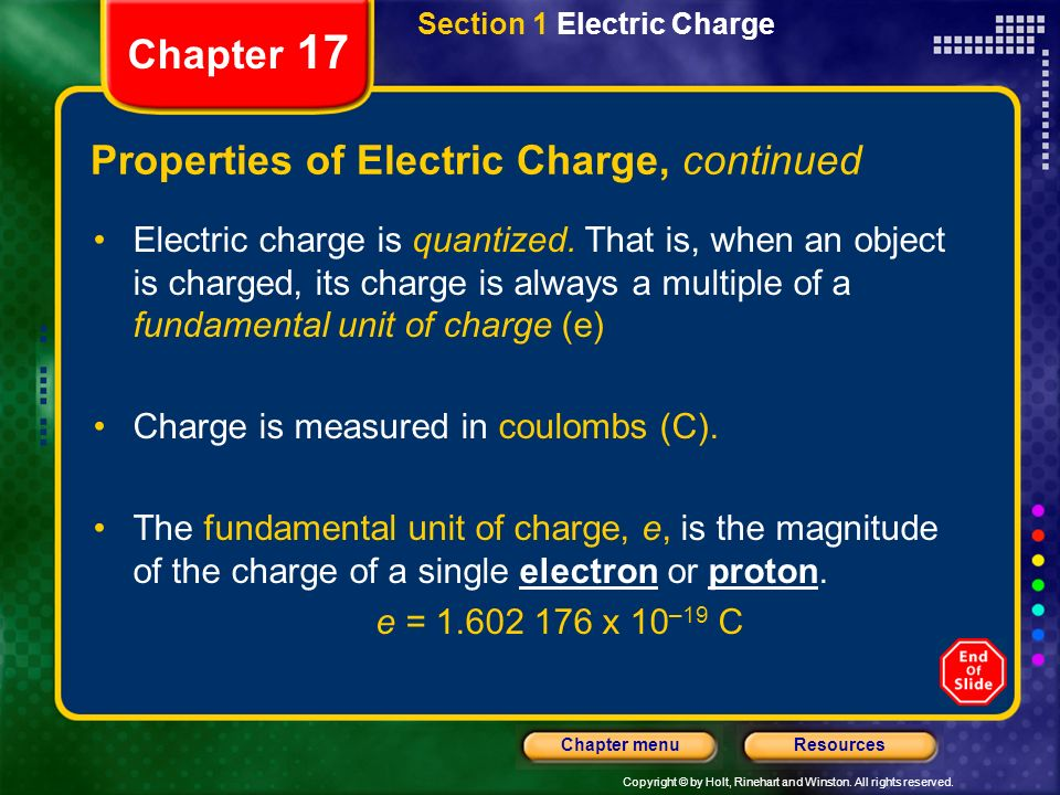 Copyright © by Holt, Rinehart and Winston. All rights reserved. ResourcesChapter menu Chapter 17 Section 1 Electric Charge Properties of Electric Char