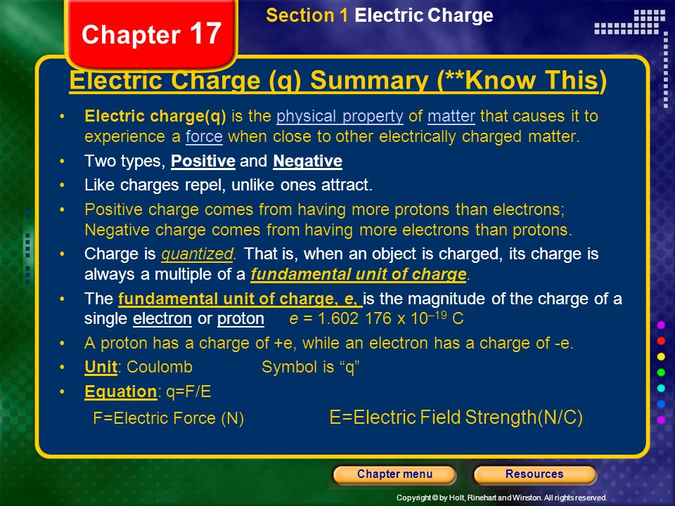 Copyright © by Holt, Rinehart and Winston. All rights reserved. ResourcesChapter menu Chapter 17 Section 1 Electric Charge Electric Charge (q) Summary