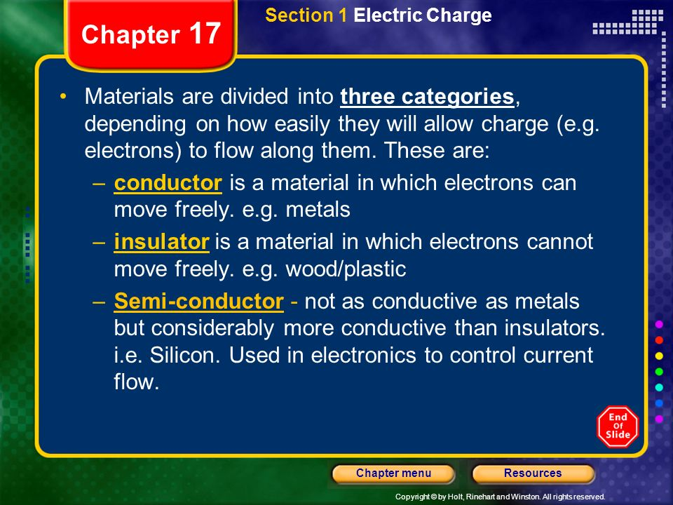 Copyright © by Holt, Rinehart and Winston. All rights reserved. ResourcesChapter menu Chapter 17 Section 1 Electric Charge Materials are divided into