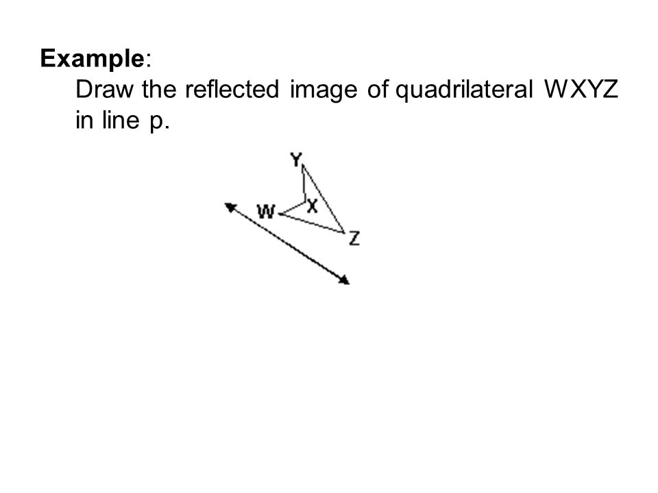 Example: Draw the reflected image of quadrilateral WXYZ in line p.