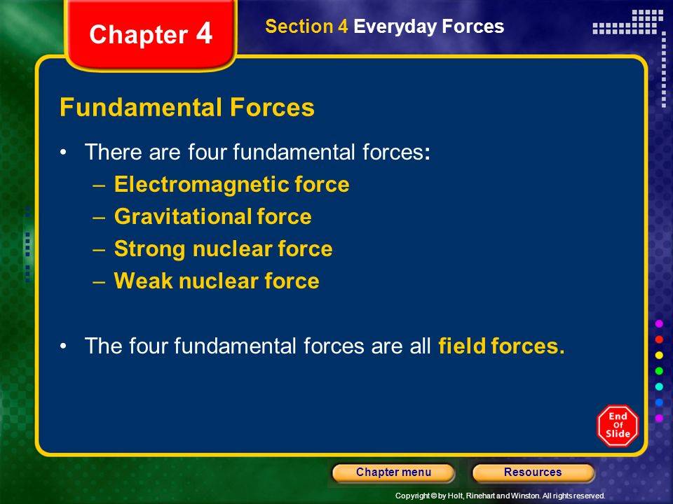 Copyright © by Holt, Rinehart and Winston. All rights reserved. ResourcesChapter menu Chapter 4 Fundamental Forces Section 4 Everyday Forces There are