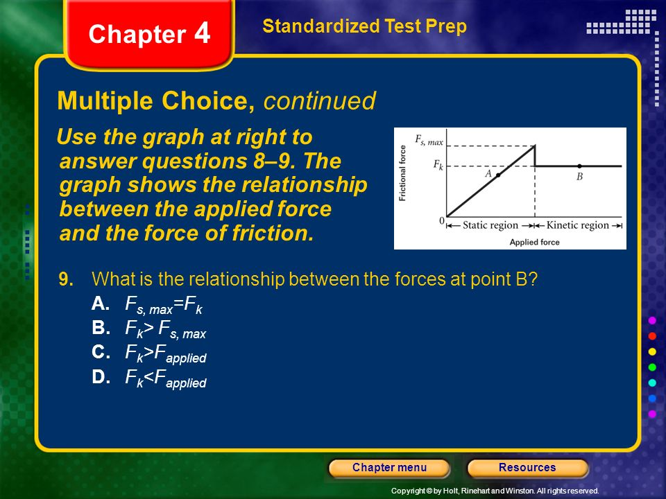 Copyright © by Holt, Rinehart and Winston. All rights reserved. ResourcesChapter menu Multiple Choice, continued Standardized Test Prep Chapter 4 9. W