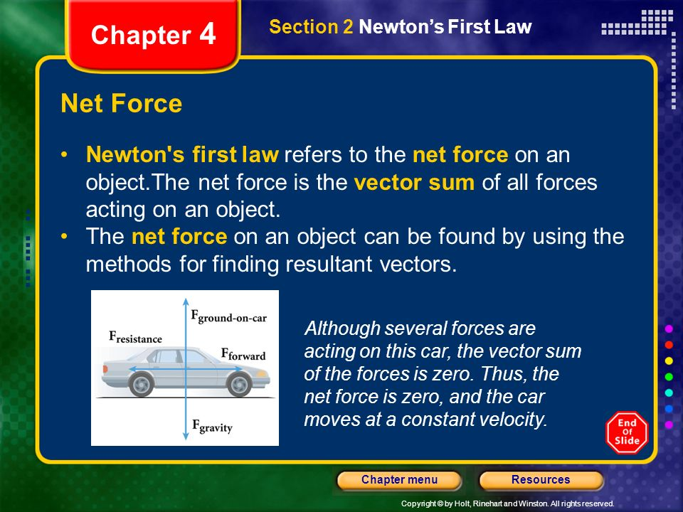 Copyright © by Holt, Rinehart and Winston. All rights reserved. ResourcesChapter menu Chapter 4 Net Force Newton's first law refers to the net force o