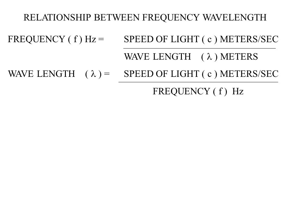 RELATIONSHIP BETWEEN FREQUENCY WAVELENGTH FREQUENCY ( f ) Hz = SPEED OF LIGHT ( c ) METERS/SEC WAVE LENGTH ( ERS WAVE LENGTH ( = SPEED OF LIGHT ( c )