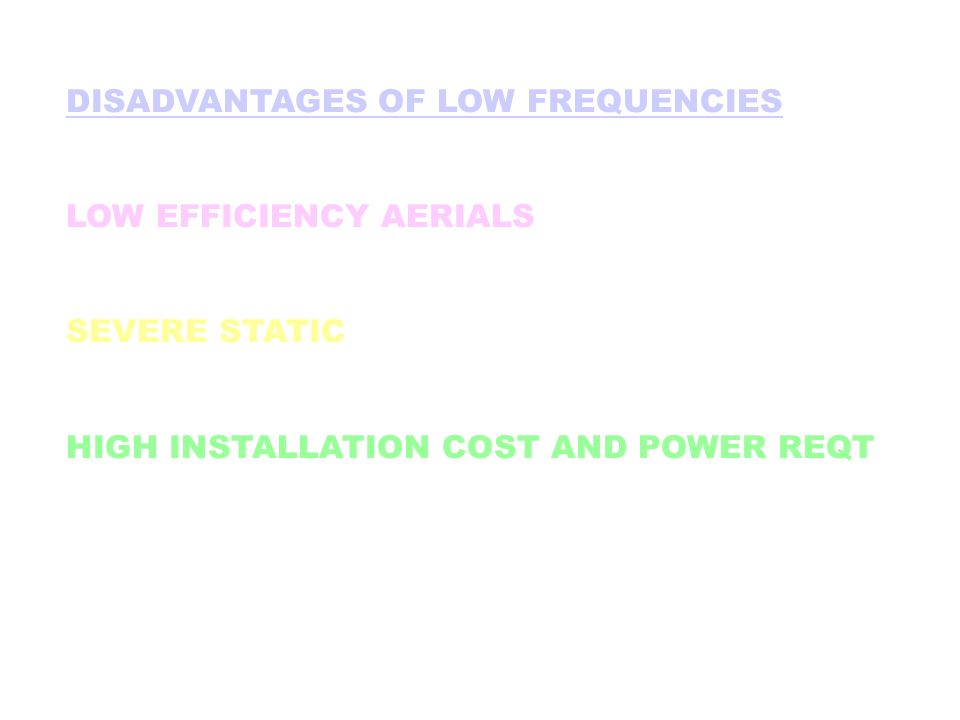 DISADVANTAGES OF LOW FREQUENCIES LOW EFFICIENCY AERIALS SEVERE STATIC HIGH INSTALLATION COST AND POWER REQT