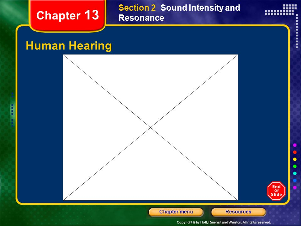 Copyright © by Holt, Rinehart and Winston. All rights reserved. ResourcesChapter menu Chapter 13 Human Hearing Section 2 Sound Intensity and Resonance