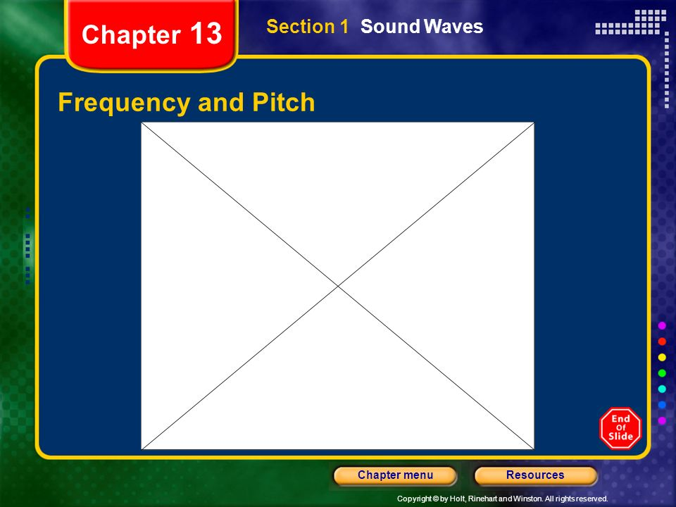 Copyright © by Holt, Rinehart and Winston. All rights reserved. ResourcesChapter menu Chapter 13 Frequency and Pitch Section 1 Sound Waves