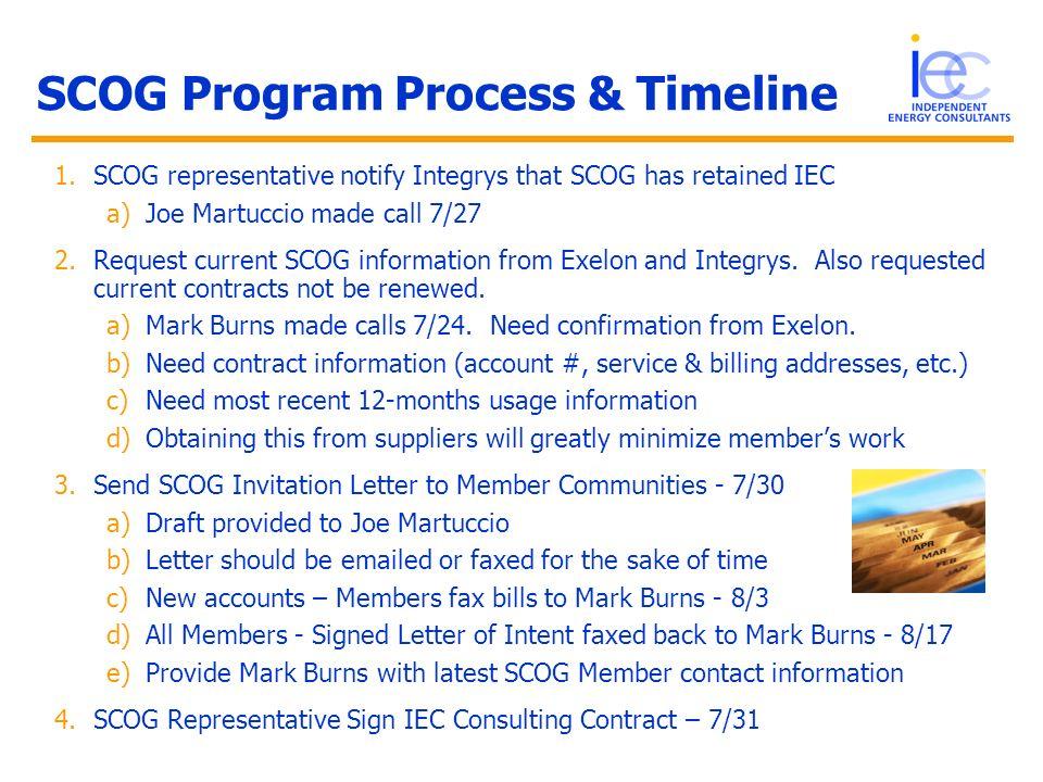 SCOG Program Process & Timeline 1.SCOG representative notify Integrys that SCOG has retained IEC a)Joe Martuccio made call 7/27 2.Request current SCOG