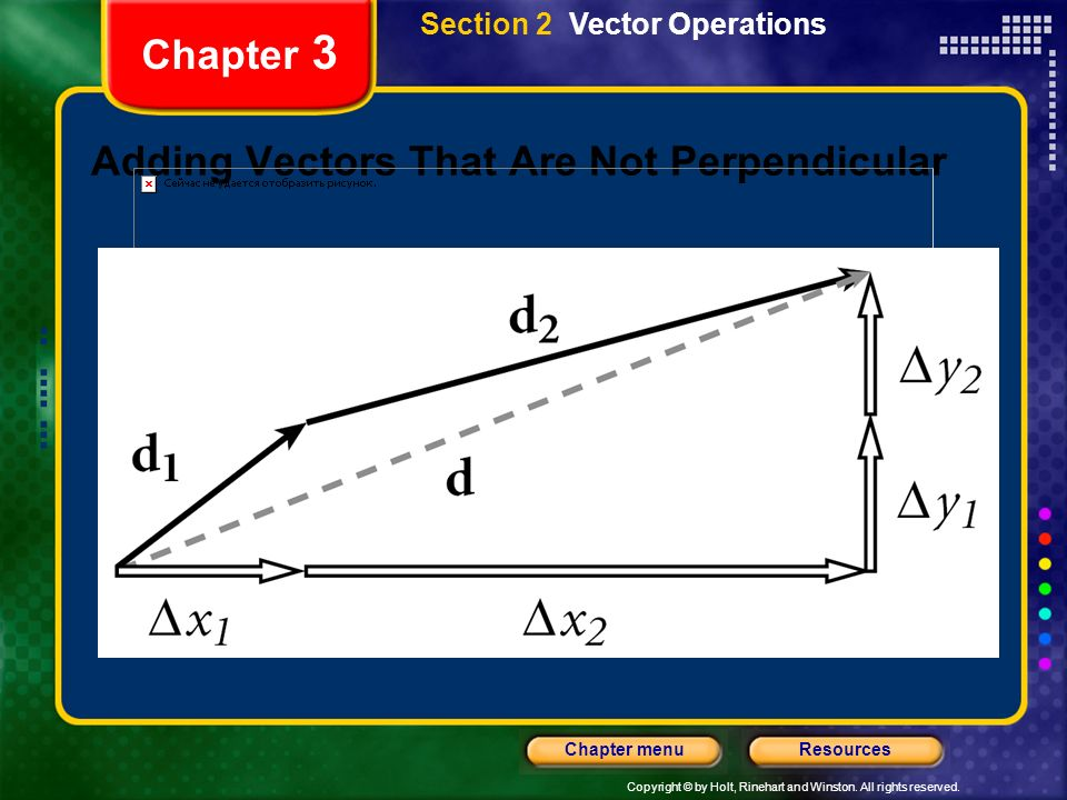 Copyright © by Holt, Rinehart and Winston. All rights reserved. ResourcesChapter menu Chapter 3 Adding Vectors That Are Not Perpendicular Section 2 Ve