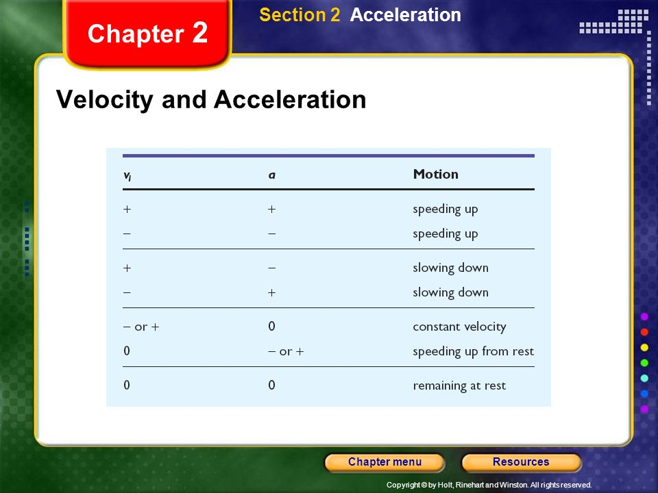 Copyright © by Holt, Rinehart and Winston. All rights reserved. ResourcesChapter menu Chapter 2 Velocity and Acceleration Section 2 Acceleration