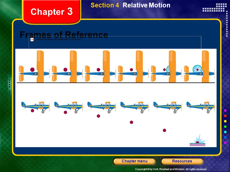 Copyright © by Holt, Rinehart and Winston. All rights reserved. ResourcesChapter menu Chapter 3 Frames of Reference Section 4 Relative Motion