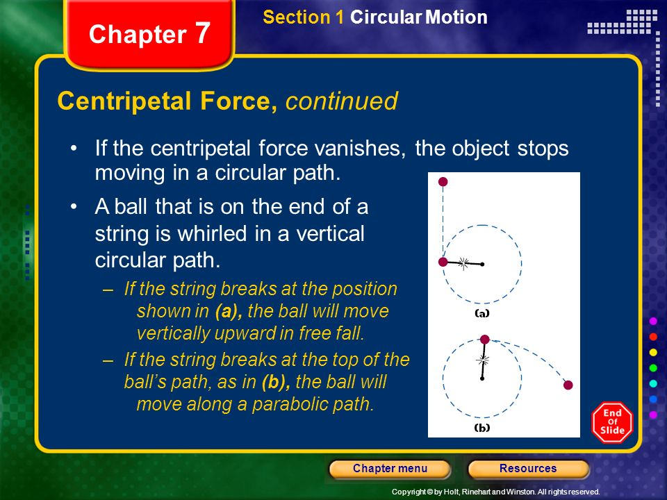 Copyright © by Holt, Rinehart and Winston. All rights reserved. ResourcesChapter menu Chapter 7 Centripetal Force, continued If the centripetal force
