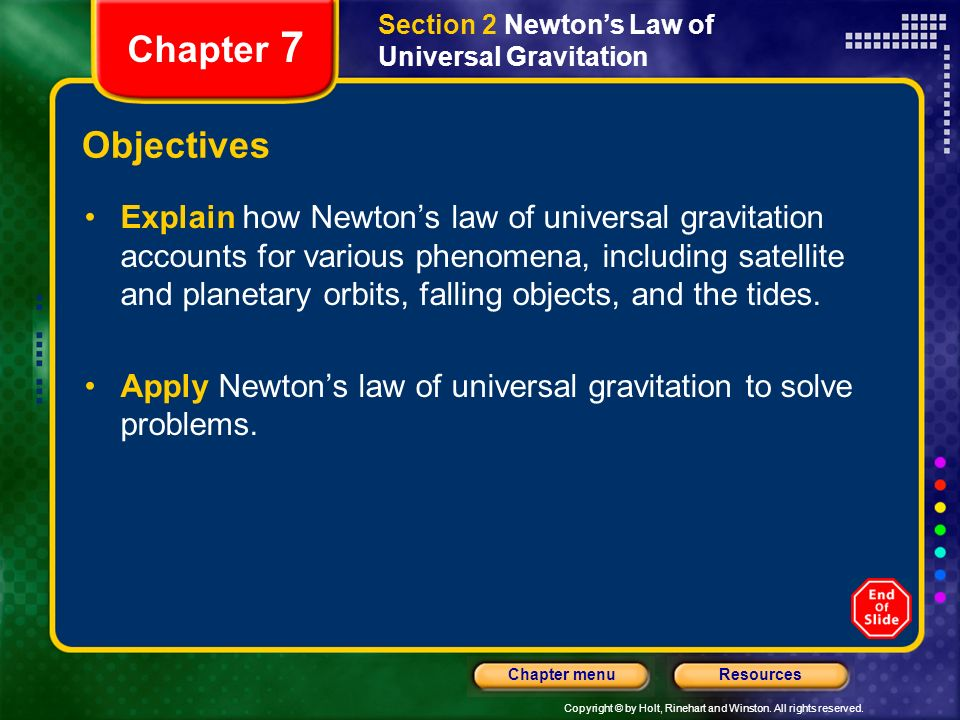 Copyright © by Holt, Rinehart and Winston. All rights reserved. ResourcesChapter menu Section 2 Newtons Law of Universal Gravitation Chapter 7 Objecti