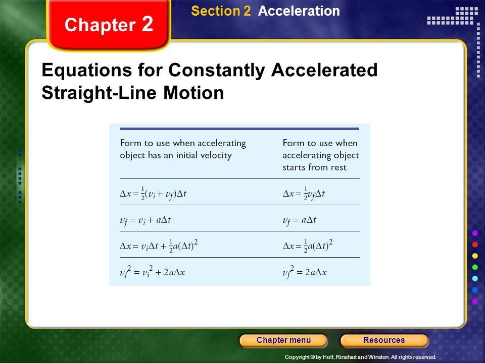 Copyright © by Holt, Rinehart and Winston. All rights reserved. ResourcesChapter menu Chapter 2 Equations for Constantly Accelerated Straight-Line Mot