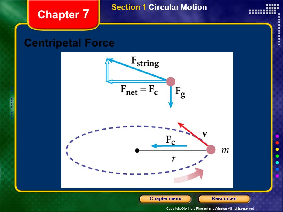 Copyright © by Holt, Rinehart and Winston. All rights reserved. ResourcesChapter menu Chapter 7 Centripetal Force Section 1 Circular Motion