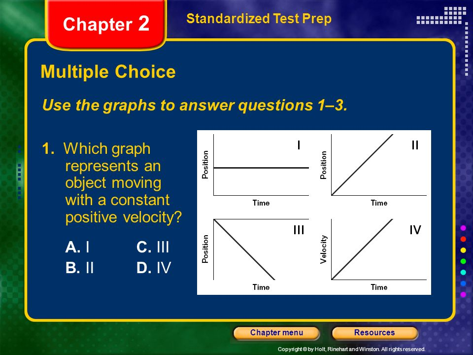 Copyright © by Holt, Rinehart and Winston. All rights reserved. ResourcesChapter menu Multiple Choice Standardized Test Prep Chapter 2 Use the graphs