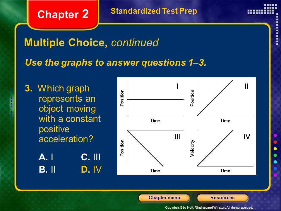 Copyright © by Holt, Rinehart and Winston. All rights reserved. ResourcesChapter menu Multiple Choice, continued Standardized Test Prep Chapter 2 Use