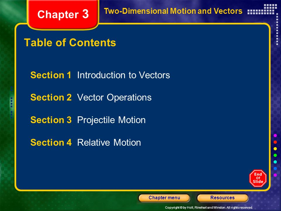 Copyright © by Holt, Rinehart and Winston. All rights reserved. ResourcesChapter menu Two-Dimensional Motion and Vectors Chapter 3 Table of Contents S