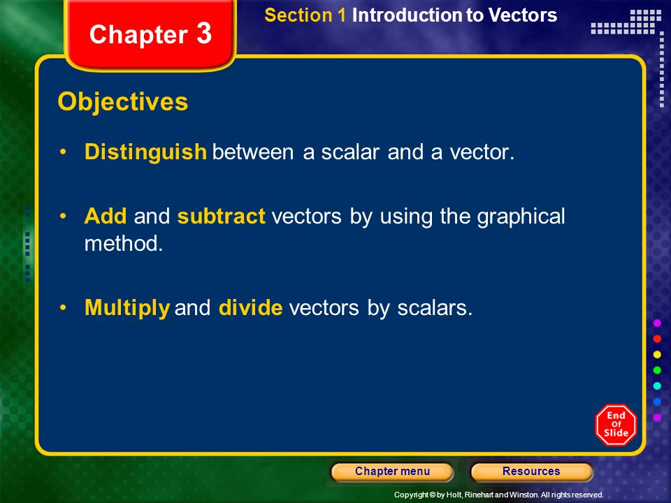 Copyright © by Holt, Rinehart and Winston. All rights reserved. ResourcesChapter menu Section 1 Introduction to Vectors Chapter 3 Objectives Distingui