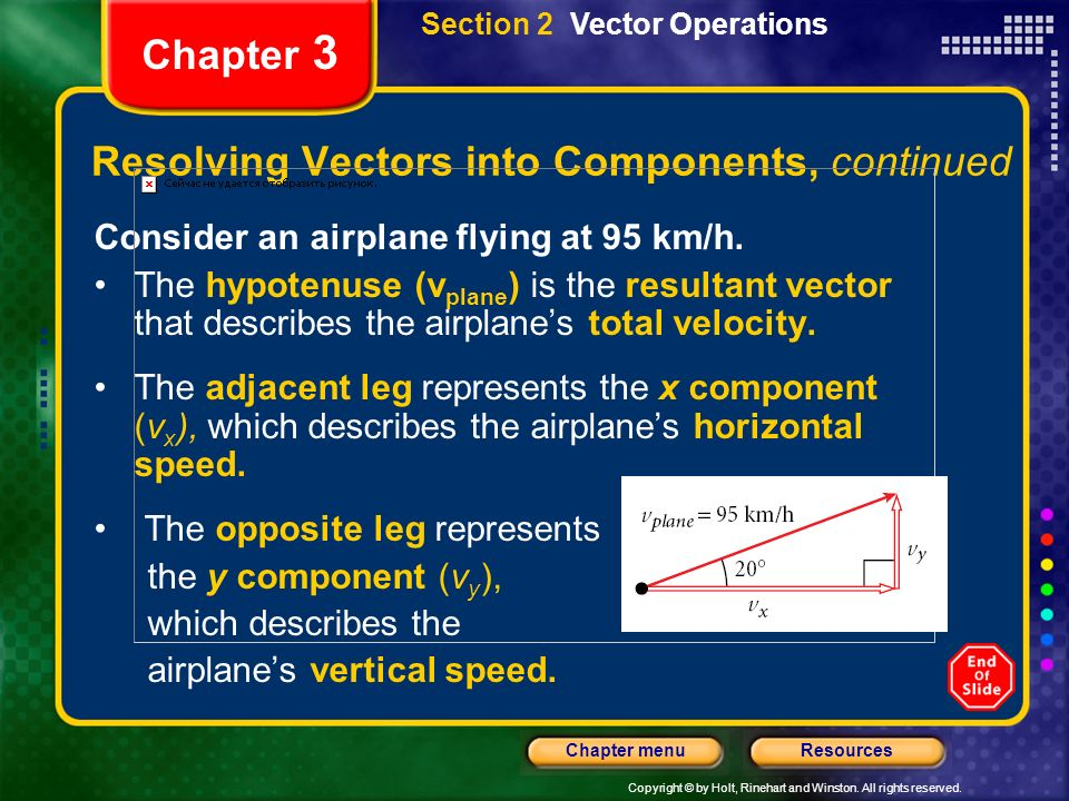 Copyright © by Holt, Rinehart and Winston. All rights reserved. ResourcesChapter menu Chapter 3 Resolving Vectors into Components, continued Consider