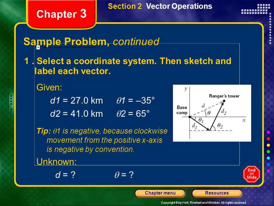 Copyright © by Holt, Rinehart and Winston. All rights reserved. ResourcesChapter menu Chapter 3 1. Select a coordinate system. Then sketch and label e