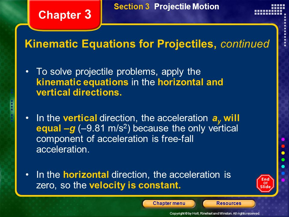 Copyright © by Holt, Rinehart and Winston. All rights reserved. ResourcesChapter menu Chapter 3 Kinematic Equations for Projectiles, continued To solv