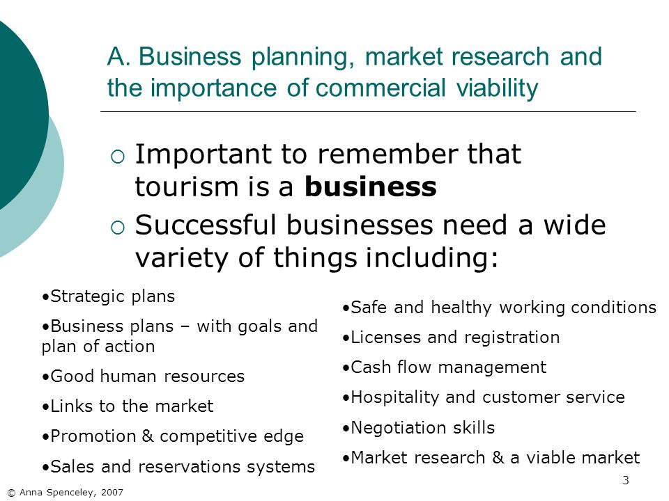 3 A. Business planning, market research and the importance of commercial viability © Anna Spenceley, 2007 Important to remember that tourism is a busi