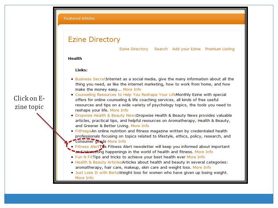 Click on E- zine topic