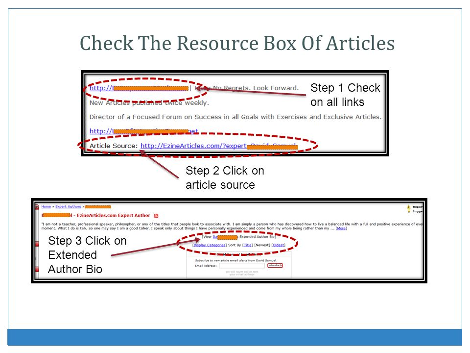 Check The Resource Box Of Articles Step 2 Click on article source Step 3 Click on Extended Author Bio Step 1 Check on all links