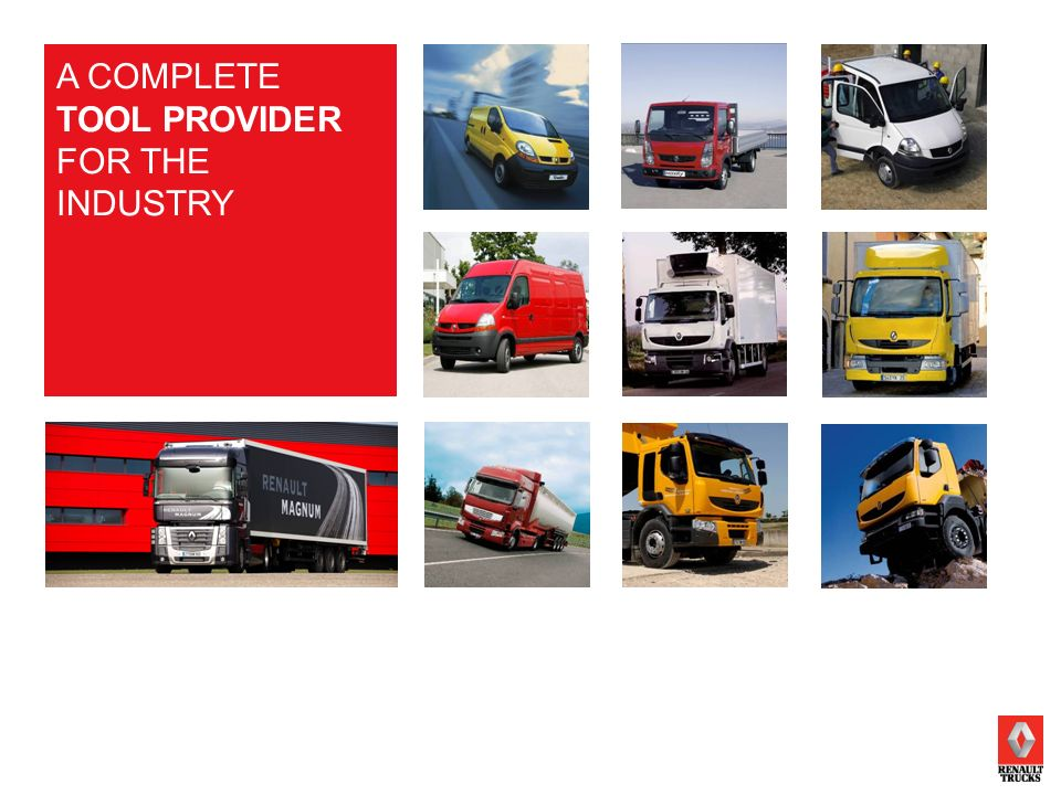 RENAULT TRUCKSPAGE 13 2009 A COMPLETE TOOL PROVIDER FOR THE INDUSTRY