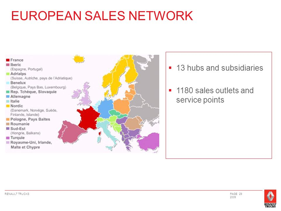 RENAULT TRUCKSPAGE 29 2009 EUROPEAN SALES NETWORK 13 hubs and subsidiaries 1180 sales outlets and service points