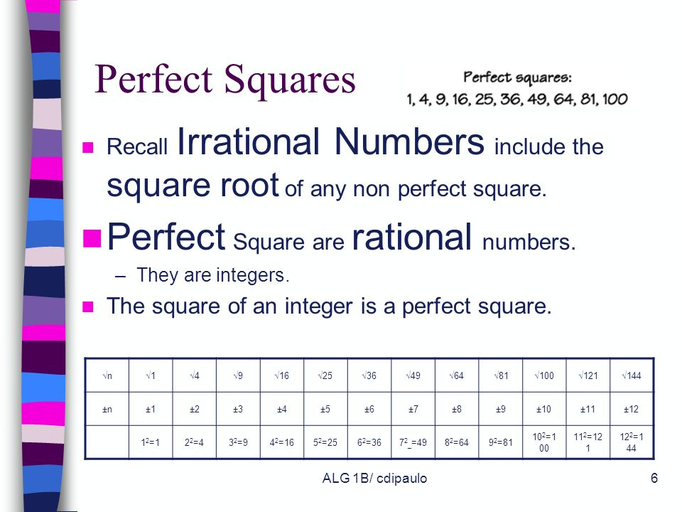 ALG 1B/ cdipaulo5 Square Roots All positive real numbers have 2 square roots. one positive square root one negative square root Square Roots are writt