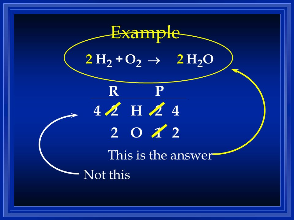 Example H 2 +H2OH2OO2O2 RP H O 2 2 2 1 2 2 4 2 4 This is the answer Not this