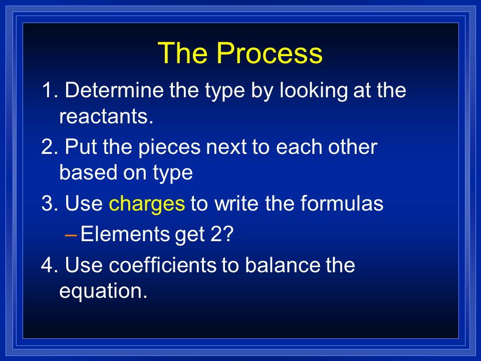 The Process 1. Determine the type by looking at the reactants. 2. Put the pieces next to each other based on type 3. Use charges to write the formulas