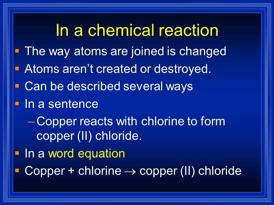Balanced Equation Atoms cant be created or destroyed All the atoms we start with we must end up with A balanced equation has the same number of atoms of each element on both sides of the equation.
